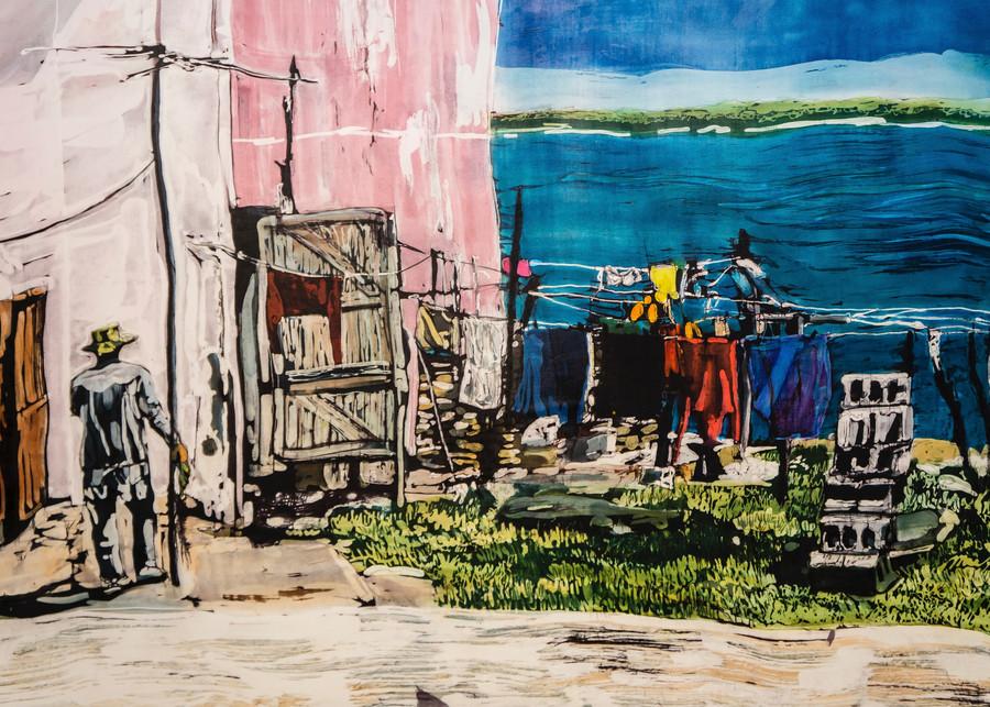 Wash Day! Gibara Bay_ batik painting on silk by artist Muffy Clark Gill 24 x 36 in