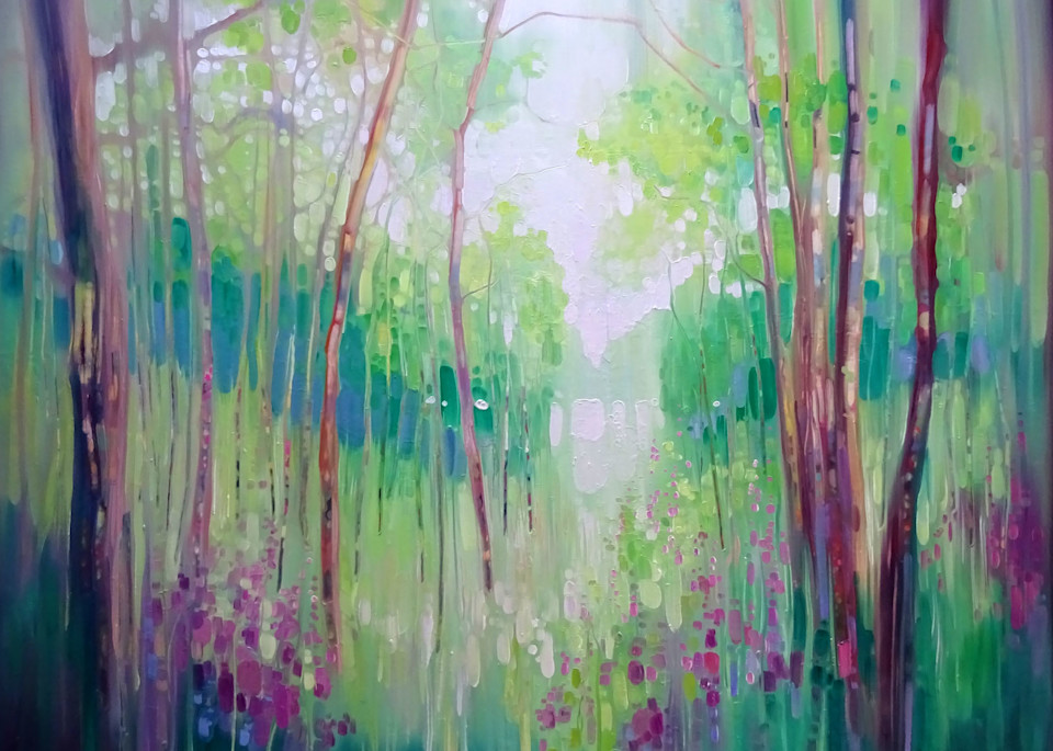 prints and wall art of contemporary green woodland forest landscape painting by Gill Bustamante