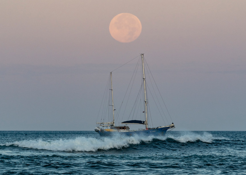 Motoring At Moonset Photography Art | Kit Noble Photography