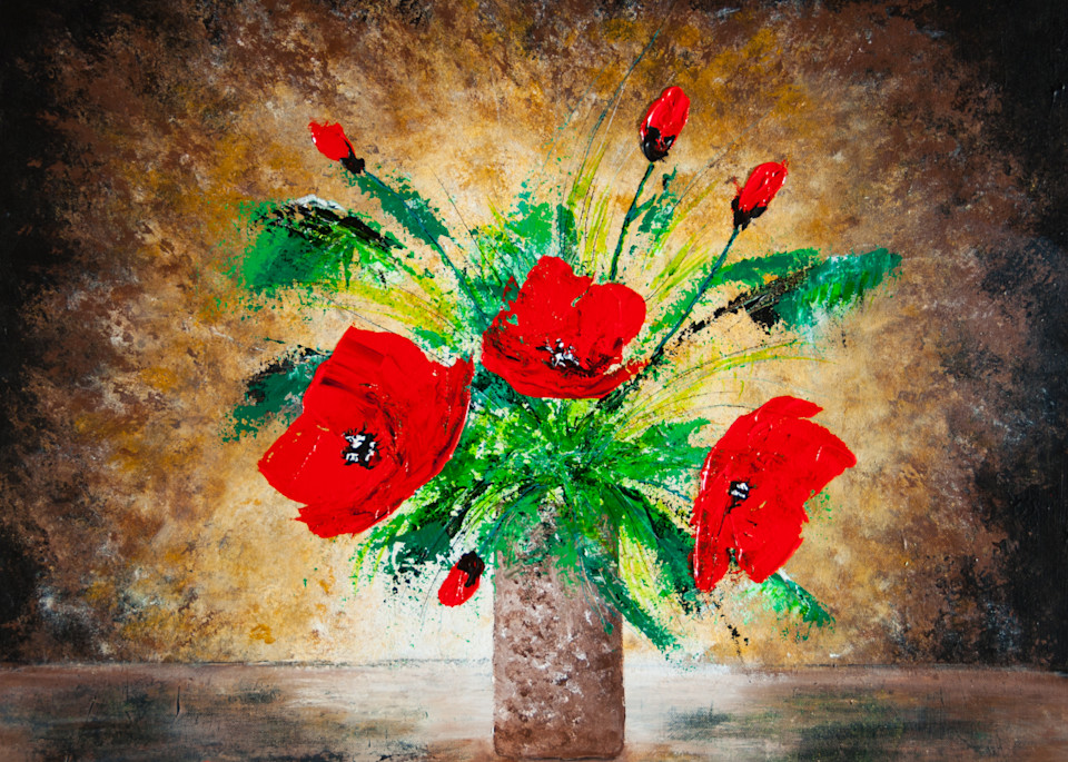 Poppies In A Vase Art | House of Fey Art