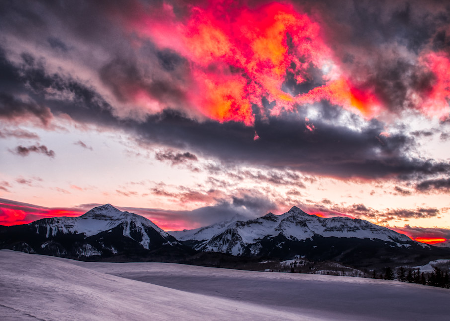 Sunset Behind Sunshine Mountain And Wilson Peak Photography Art | Peter Batty Photography
