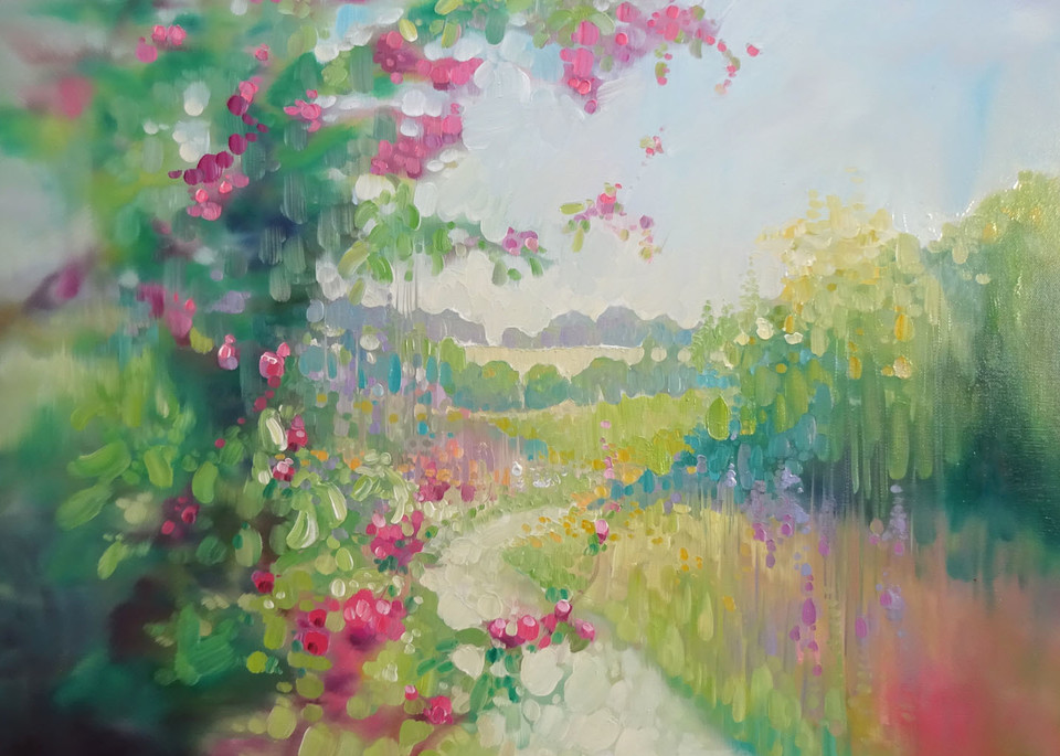 wall art and prints on canvas or paper of a landscape painting with blossom, wildflowers, fields, hills of Sussex