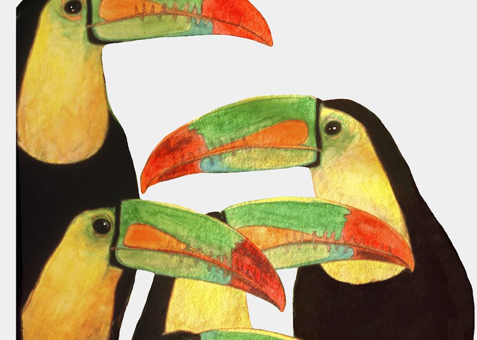 """""""Toucan Love"""" Gouache Painting by Dee Van Houten"""