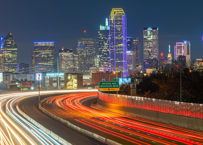 Dallas Skyline and Freeway - Dallas Skyline Images | William Drew Photography