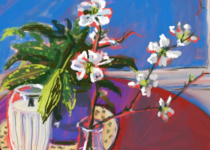 Japonica, Aucuba, And A White Candle Art   Rick Osborn Art