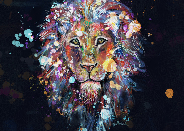 Lion Black Art | Kristyn Watterworth