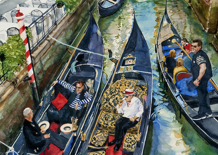 Gondolier Repartee, From an Original Watercolor Painting