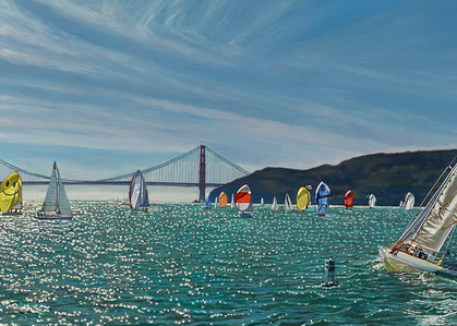 Sailing The Golden Gate Panoramic Art   The Huntington Studio