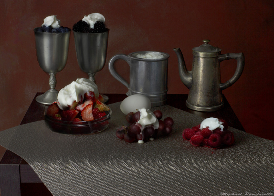 A Fine Art Photograph of Cream and Fruit by Michael Pucciarelli