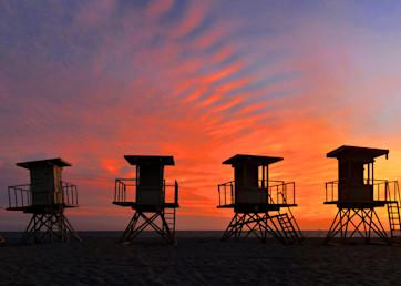 Huntington Beach Lifeguard Stand Panorama Art   Shaun McGrath Photography