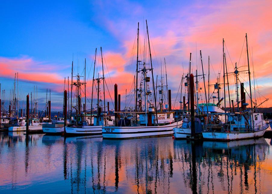 Fishing Boats Sunset Charleston Oregon