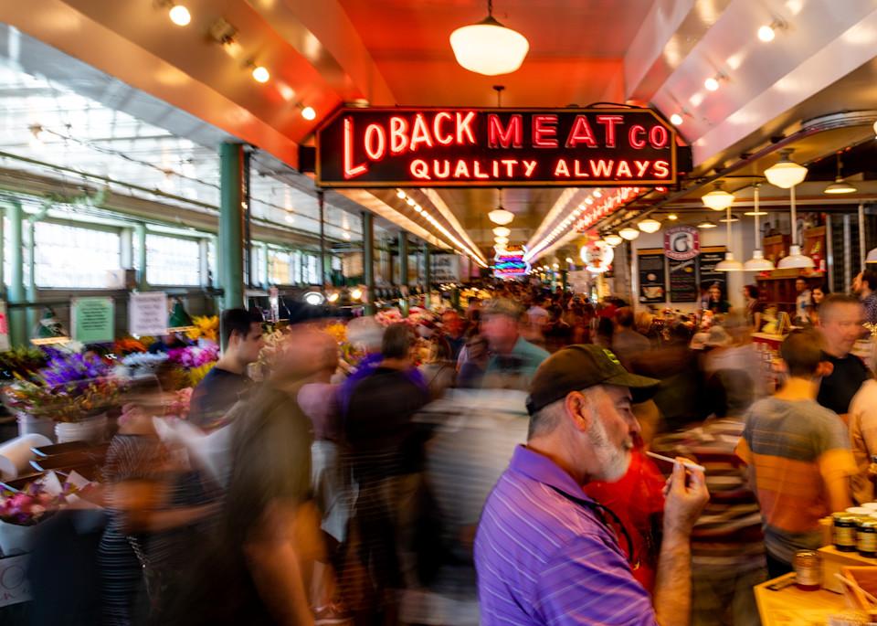 Pike Place Market Loback Meat Co Photography Art | Dan Katz, Inc.