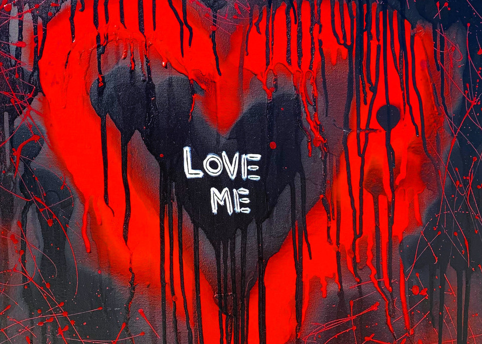 Love ME: Dripping Heart Painting by Paul Zepeda for Sale as Fine Art Prints - Wet Paint NYC Gallery