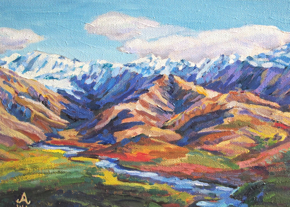 Prismacolor Mountains in Denali Alaska Art Print by Amanda Faith Thompson