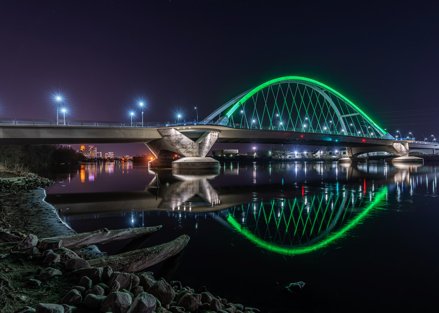 Green Lowry Bridge on Earth Day in Minneapolis - Minneapolis Images