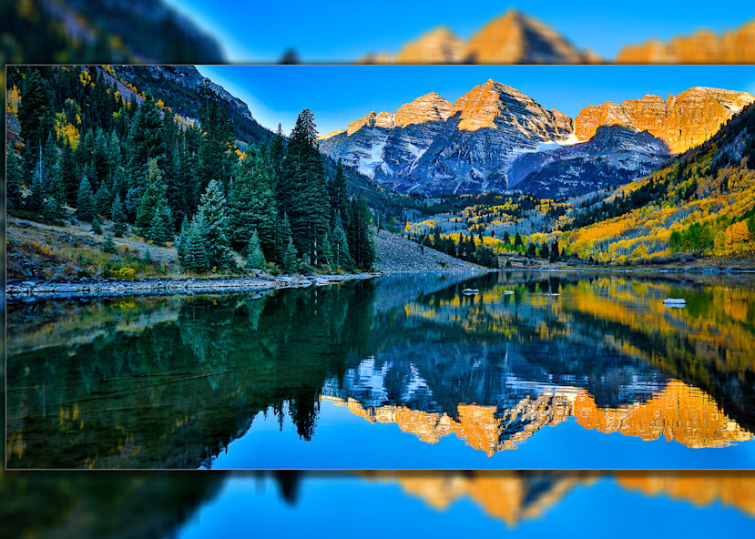 Maroon Bells Blue  Pano 3 D Photography Art | Whispering Impressions