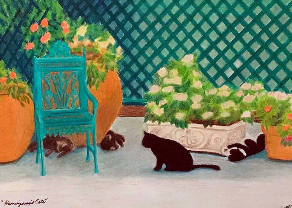 Hemingway's Cats, From an Original Colored Pencil Painting