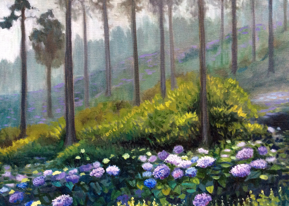 Hydrangeas in the Mist Fine Art Print by Hilary J. England