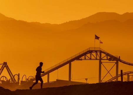 Jogger Pier Silhouette Photography Art   Michael Scott Adams Photography
