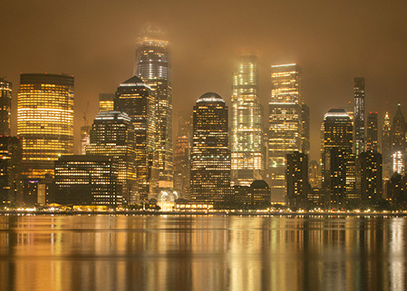 Rainy Night on the Hudson - Panoramic Print - Michael Sandy Photography