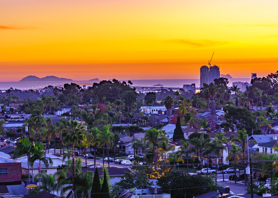 North Park, San Diego From Above Sunset Fine Art Print Art | McClean Photography