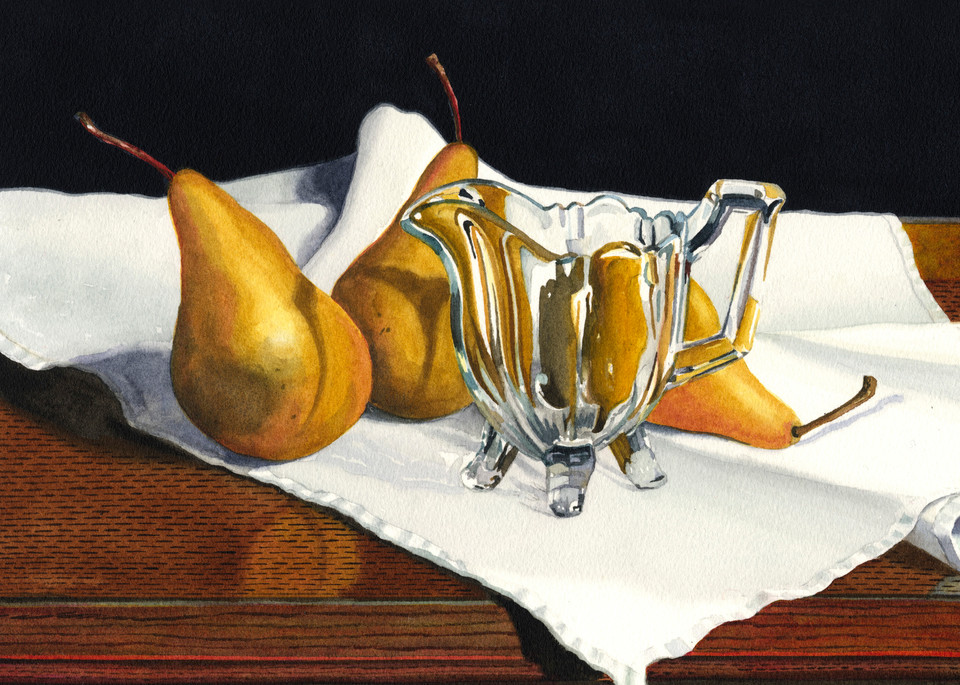 Bosc Pears With Crystal Art | Gary Curtis Watercolors
