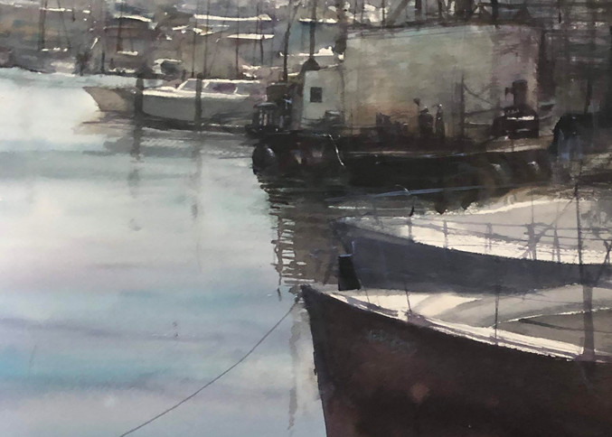 Open Edition Print | Watercolor Painting | Sleepy Harbor | Nishita Jain