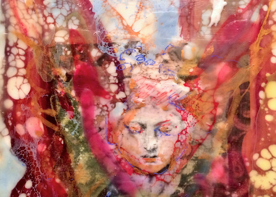 """High quality print of stunning """"Love Conquers 2"""" prophetic art by Monique Sarkessian, encaustic wax painting of a heavenly angel."""
