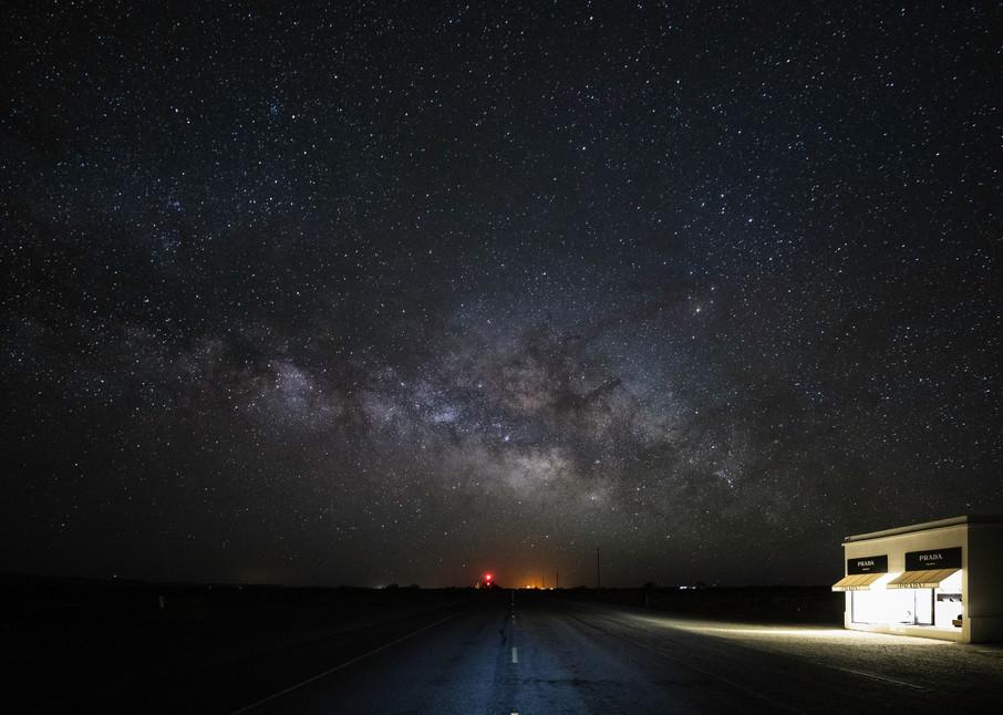 A mock Prada Store beneath the Milky Way in deep Southern Texas