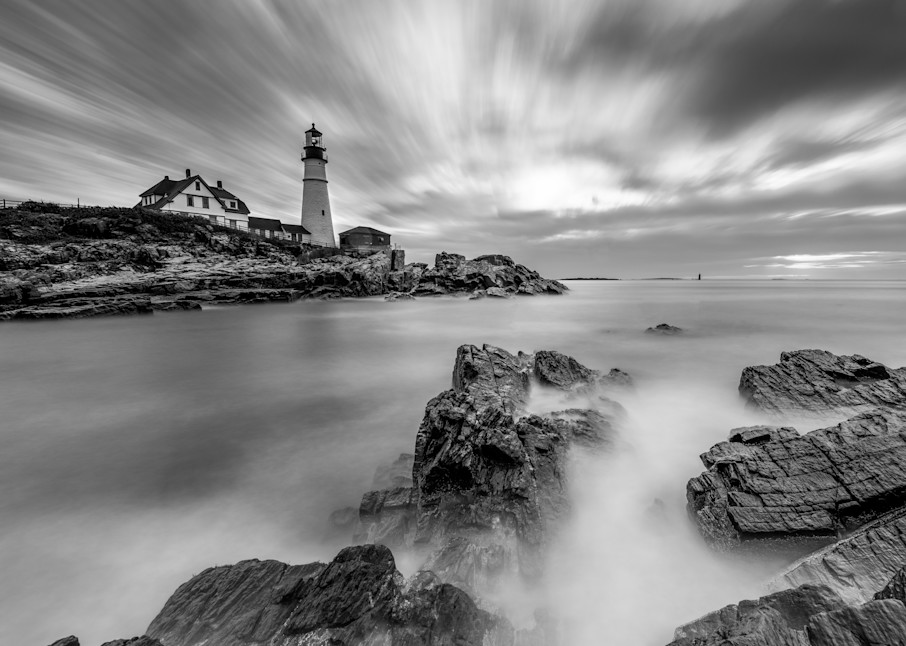 Morning Tides at Portland Head Light in Black and White