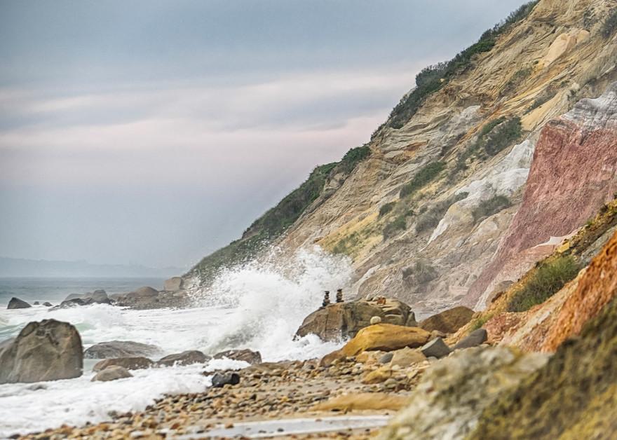 Gay Head Cliffs Cairns Waves Art | Michael Blanchard Inspirational Photography - Crossroads Gallery