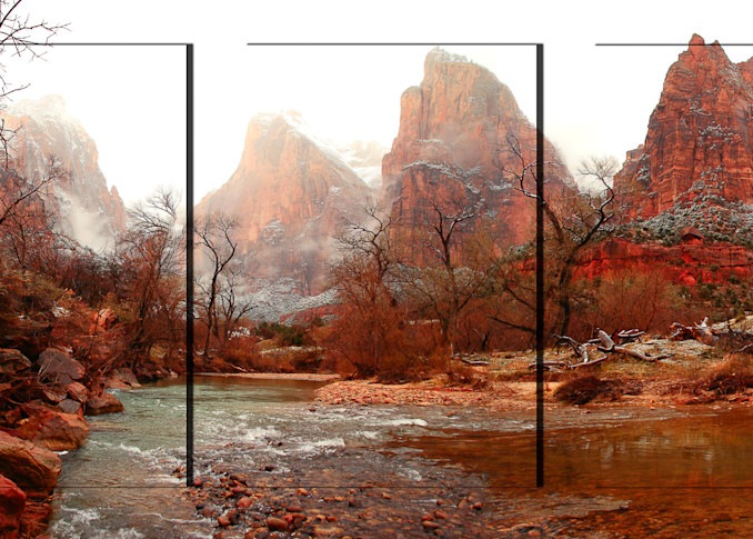 Zion Court Of The Patriarchs 3pc 3 D Photography Art | Whispering Impressions