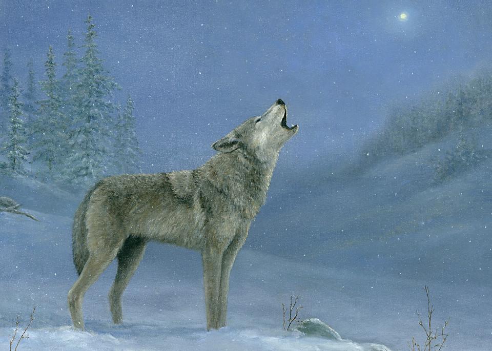*Gray Wolf Howling At The Moon Art | Tarryl Fine Art