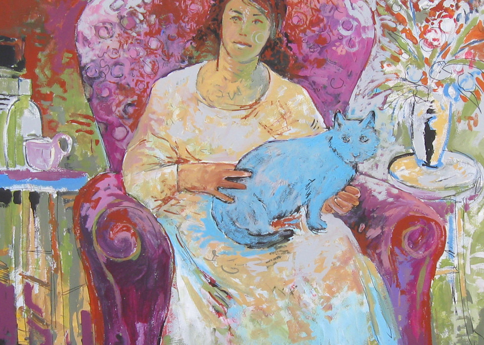 Woman with Blue Cat