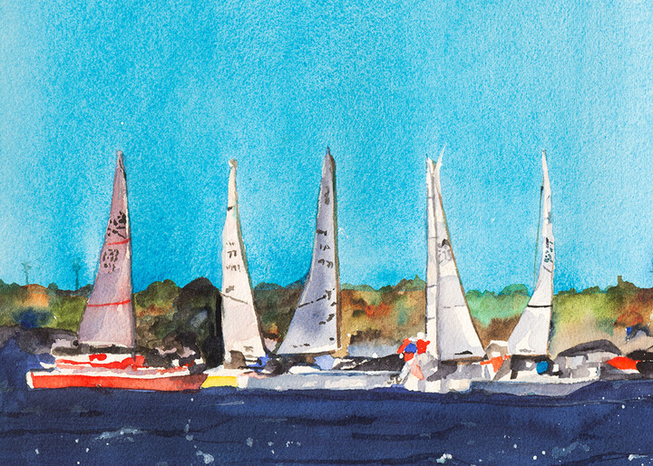 Five Side-by-Side, From an Original Watercolor Painting