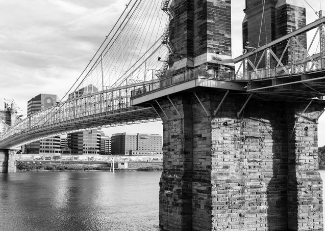 Roebling Bridge In Black And White Photography Art | Hatch Photo Artistry LLC