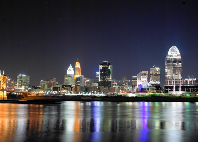 Cincinnati By Night Number 1 Photography Art   Hatch Photo Artistry LLC