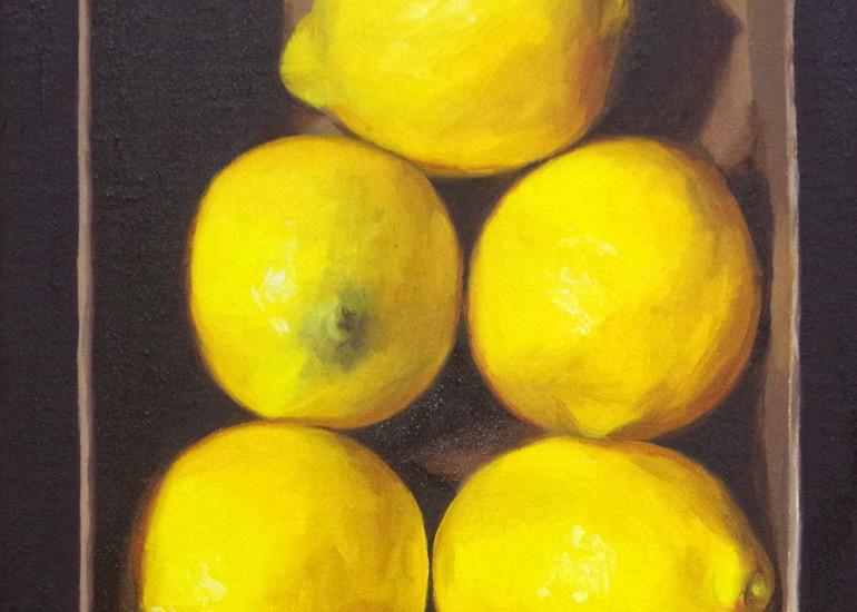 Five Lemons In A Cardboard Box Art | Helen Vaughn Fine Art