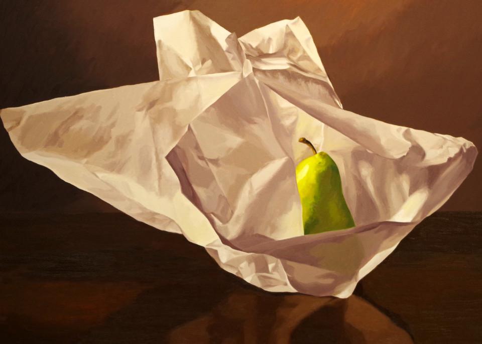 Pear Wrapped In Tissue Paper 4 Art | Helen Vaughn Fine Art