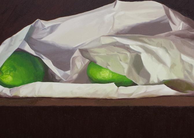 Three Limes And Tissue Paper Art   Helen Vaughn Fine Art