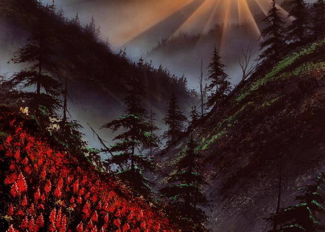 """Heavens Edge"" a fine art print of Montanas Big Sky sunset, and Indian paintbrushes by artist Joe Ziolkowski."