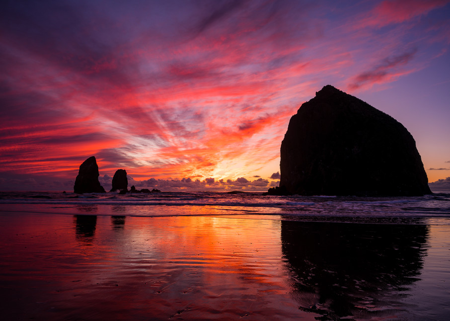 Sunset Reflections, Cannon Beach, Oregon, 2019