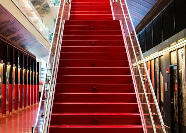 Red Staircase Univ Of Cincinnati Basketball Arena Photography Art | Hatch Photo Artistry LLC