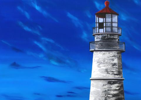 Evening Lighthouse Art | MMG Art Studio | Fine Art Colorado Gallery