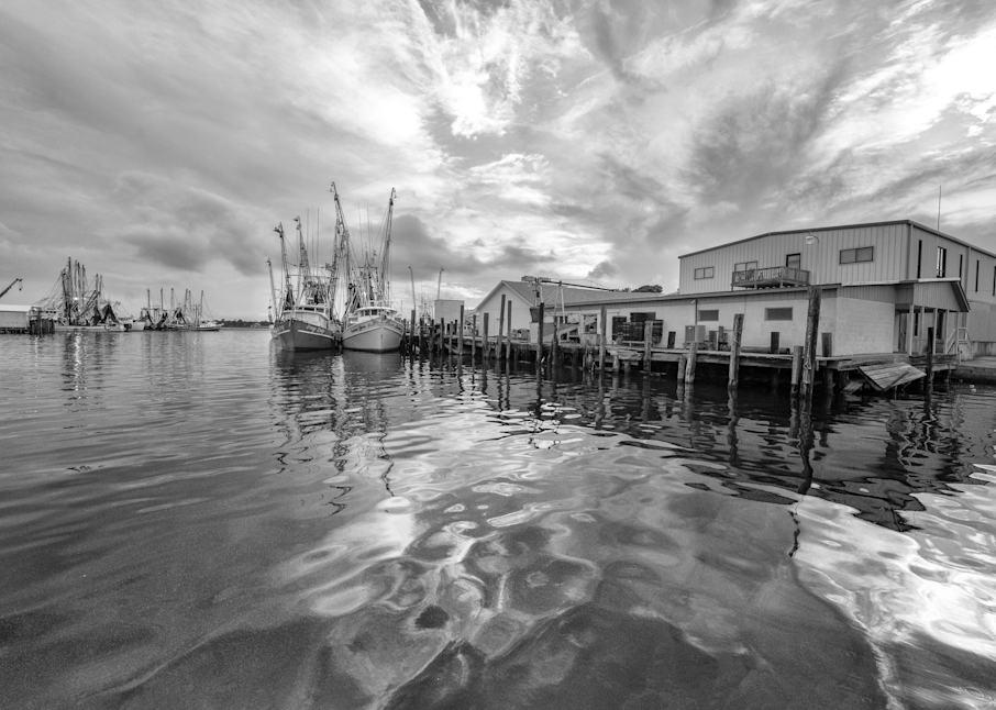 Shrimpboats In The Evening Bw Photography Art   Hatch Photo Artistry LLC
