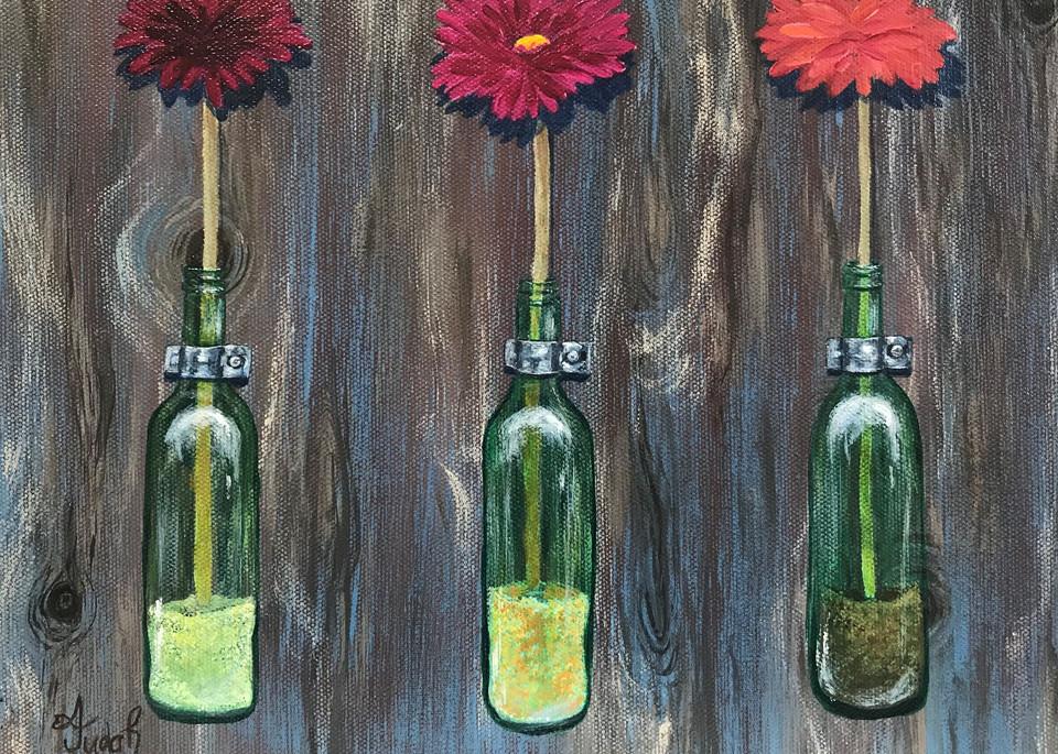Fresh Flowers In Green Glass Bottles 1 Of 2 Art   alanajudahart