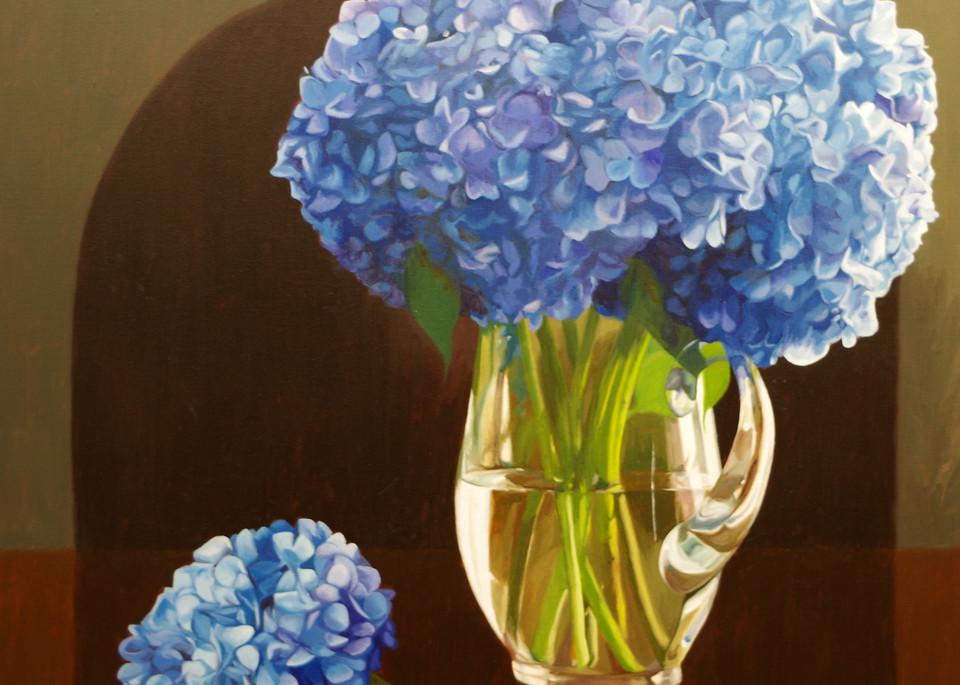 Blue Hydrangeas In A Glass Pitcher Art   Helen Vaughn Fine Art