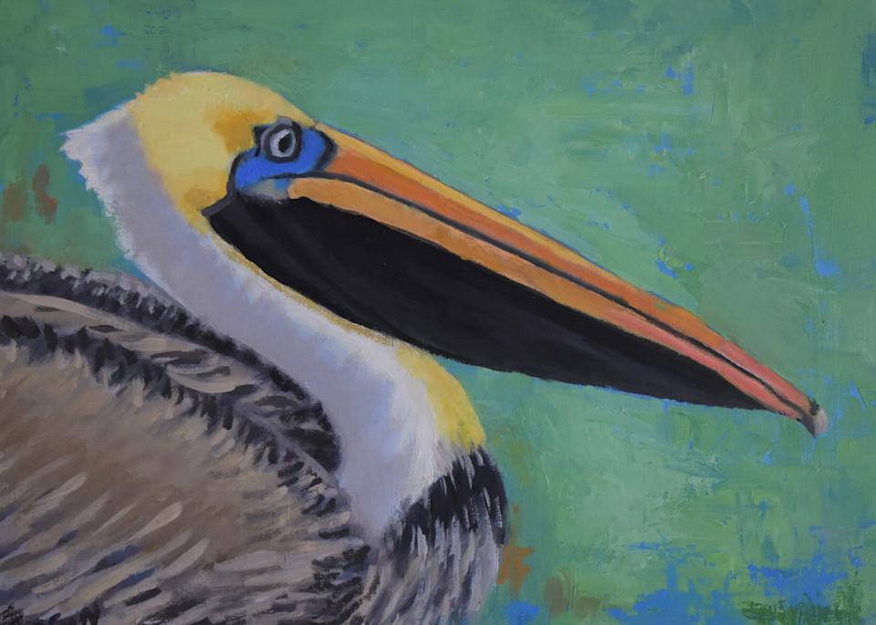 Pelican On Green Art   Sharon Guy