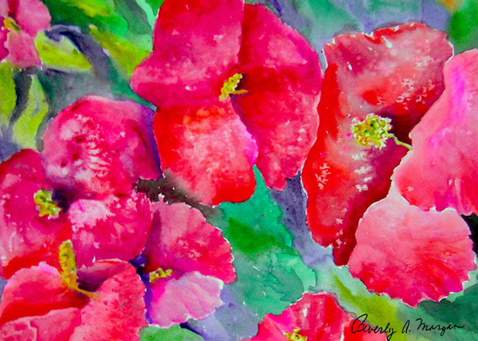 Bright Red Poppies, An Original Watercolor Painting