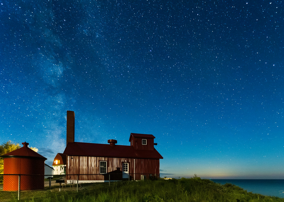 Night Sky Over The Fog Signal Building At Point Betsie Photography Art | Drew Smith Photography, LLC